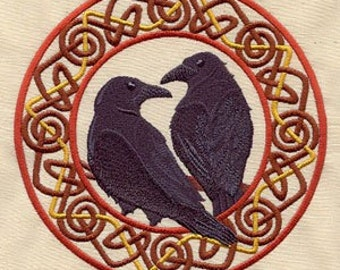 Celtic pair of Ravens Applique Embroidered Patch , Sew or Iron on