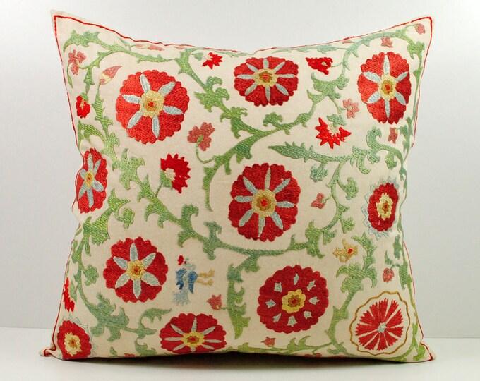 Handmade Suzani Silk Pillow Cover msp5-29, Suzani Pillow, Uzbek Suzani, Suzani Throw, Suzani, Decorative pillows, Accent pillows