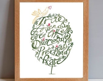 Friendship Quote, Friend Gift, True Friends Quotation Art Gift Print