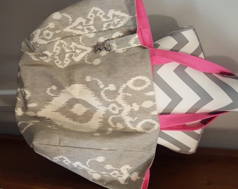 Handmade Beach Bag - Grey Trellis and Hot Pink