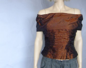 crinkled silk tafetta top, off the shoulder top, corset