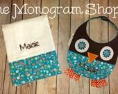 Monogrammed, Quilted, Reversible Owl Bib & Matching Burp Cloth Set - FREE MONOGRAMMING