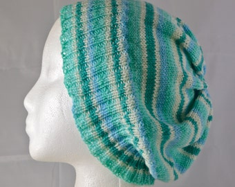 Mint Green Slouchy Hat, Striped Slouchy Beanie,  Mint Green Stripes, Light Weight Wool Hat, Striped Stocking Cap