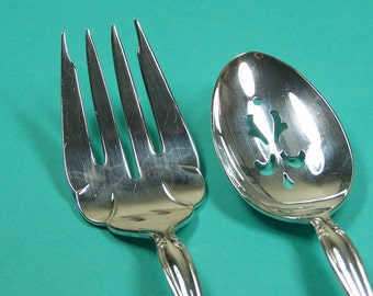 Serving Set, Serving Spoon, Meat Fork, Vintage Silver Plated, Interlude, 1971, Under 25