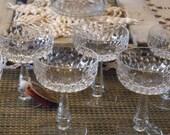Celebrating Champagne Crystal Glasses or Sherbet Glasses with Elegant Faceted Crystals // Set of Seven Sherbert//Champagne or Cocktail Cut