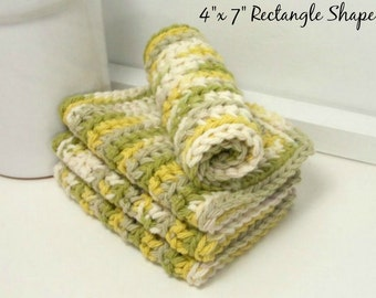 Handmade Dishcloths, Crochet Dishcloths, Rectangular Dishcloths, Set of 4, American Cotton, Eco Friendly Kitchen