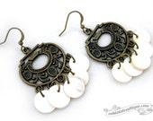 Shell Earrings bronze mother of pearl earrings gypsy dangles boho earrings ivory chandelier earrings hippie earrings gift for her under 20