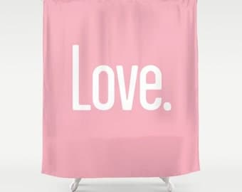 36 colours, Candy pink, LOVE PERIOD Quote Shower Curtain, Pink shower curtains, powder blue bathroom decor