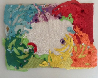 Button Art - Celebrating Earth Day! - Original - Contemporary -  Handmade Paper  & Buttons -  ready to frame