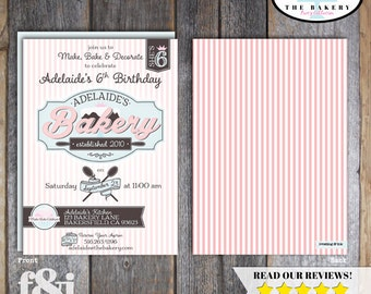 Baking Party Invitation | Bake Shop Invite | Bake Shoppe Invitation | Bakery Invitation | Baking Invite | Baking Birthday Party | Printable