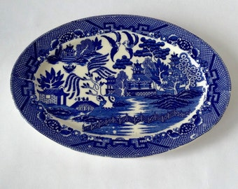 Vintage Blue and White Pagoda Platter