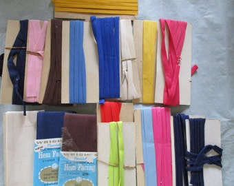 Vintage Bias Tape COTTON Single Fold, Hem Facing, Piping, Middy Braid LOT Mix of Colors Open Packages Sewing Notion