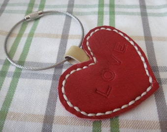 Leather heart key chain / red