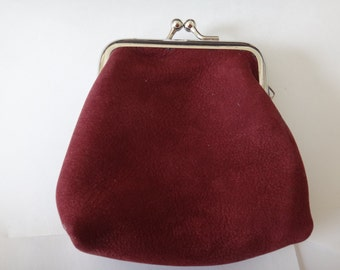 Dark red soft leather clutch/metal framed coin purse