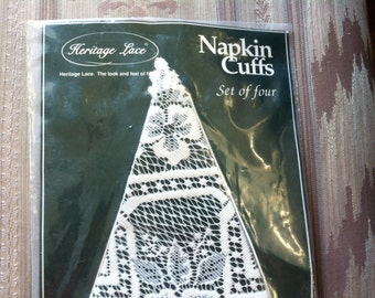 """Vintage 70's """"LACE NAPKIN CUFFS"""" by Heritage Lace Service for 4"""