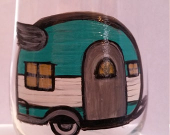 Happy Camper, Hand Painted wine glass, Vintage Camper, stemless Wine Glass
