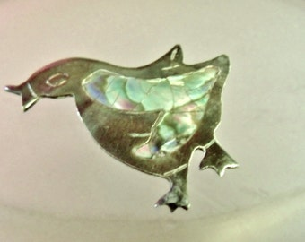 Mexican Sterling Silver brooch, Rainbow Shell Abalone inlay, Duck lovers pin, silver and rainbow colored brooch....