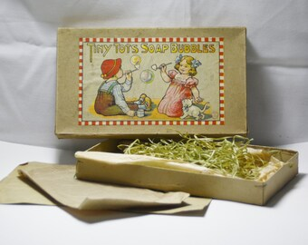 "Vintage Gift Box ""Tiny Tots Soap Bubbles""Gift Box  Made in Germany  Paper Ephemera"