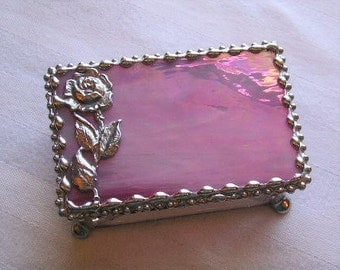 Stained Glass Jewelry Box|Trinket Box|Rose Box|Rose|Pink|Jewelry|Jewelry Storage|Home & Living|Storage|Handcrafted|Made in USA