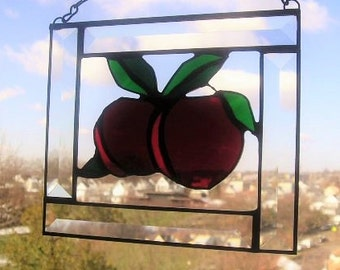 Stained Glass Art Suncatcher|Apple Suncatcher|Apple for Teacher|Red|Green|Art & Collectibles|Glass Art|Handcrafted|Made in USA