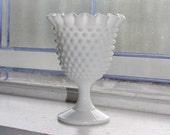 Fenton Milk Glass Hobnail Pedestal Dish Crimped Pie Crust Rim Vintage 1970s