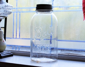 Large Ball Jar Half Gallon Ball Mason Jar Vintage 1933 to 1960 with Gripper Ribs and Zinc Lid
