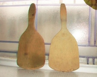 Wooden Butter Paddle Pair Antique Farmhouse Kitchen Decor