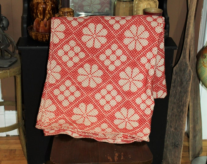 Antique Coverlet Red and White Reversible Jacquard Weave Mid 1800s