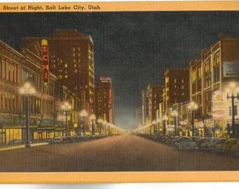 Linen Postcard, Salt Lake City, Utah, Main Street at Night, ca 1945