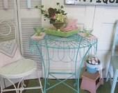 Vintage Blue Wrought Iron Garden Table Shabby Cottage Farmhouse Prairie
