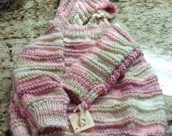 Hooded infant sweater-zips up the back  size 18-24 months  color is Rosewood