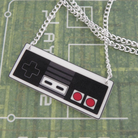 GIRL GAMER Nintendo NES Video Game Controller Necklace - Geeky Video Games Jewellery - Gaming Geek Jewelry - Gamer Gifts