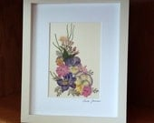 PRESSED FLOWER ART - Colorful Pressed Flowers Garden Bouquet, Matted Art Picture, Home Decor, Pink, Blue, Purple, Yellow