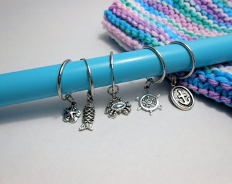Knitting Stitch Markers Set of 5 Nautical Stitch Markers