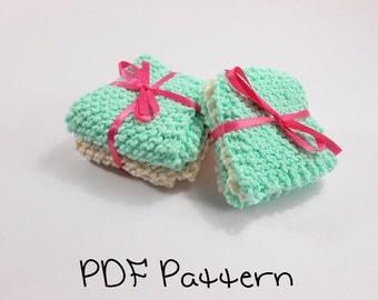 Washcloth Knitting Pattern Beginner Wash Cloth and Coaster Pattern