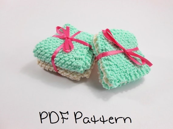 Washcloth Knitting Patterns For Beginners : Washcloth Knitting Pattern Beginner Wash Cloth and Coaster