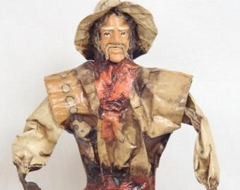 Vintage Mexican Paper Mache Folk Art Doll // Man Carrying A Basket of Beans and Corn // Folk Art Figurines // Souvenir // Statues