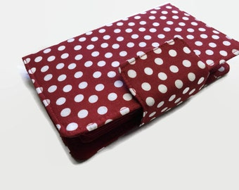 Women's Wallet, Credit Card Holder, Bi fold Wallet, red Wallet, Polka Dot Wallet, Fabric Wallet, Mini Wallet, Card Organizer, Wallets