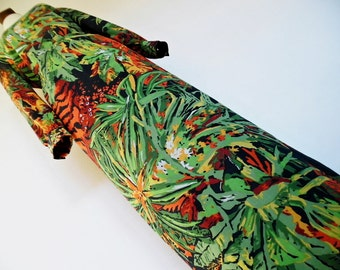 TROPICS FOLIAGE . Sultry Floral Leaves Flowers Print . Maxi Dress 70s Cotton Mix M L