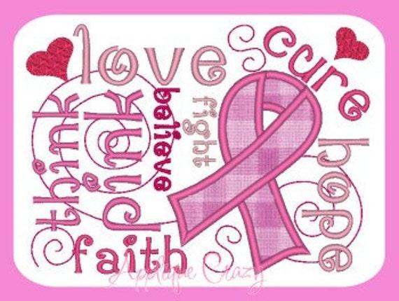Pink Awareness Applique Embroidery design  .