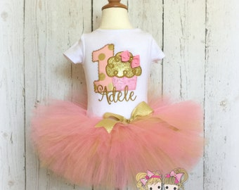 Cupcake birthday outfit - 1st birthday outfit - pink and gold cupcake tutu outfit - cupcake tutu - custom embroidered birthday outfit