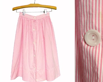 """Vintage Pink and White Striped Skirt // Candy Striper Skirt // XS 24"""" Waist"""