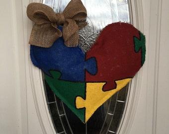 Autism Heart Burlap Door Hanger, Austism Awareness Door Hanger,Autism Awareness, Autism Puzzle