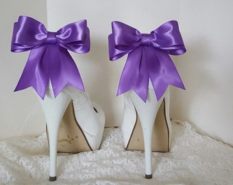 Grape, Wedding Shoe Clips, MANY COLORS, Bridal Shoe Clips, Satin Bow Shoe Clips, Shoe Clips for Wedding Shoes, Bridal Shoes, Womens