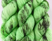 SALE | sparkle {sock} | LEMON LIME | ready to ship | hand dyed yarn | merino nylon stellina fingering