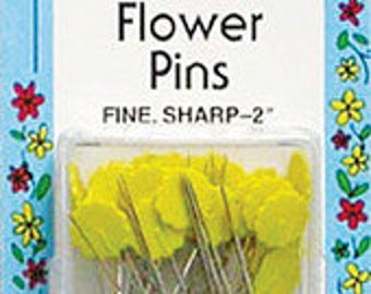 Flat Flower Head Pins Quilter's Yellow Heads 50 count