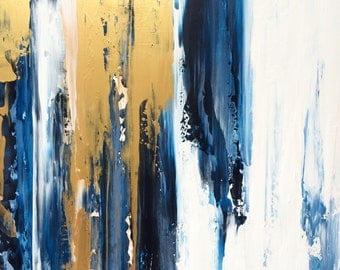 Large Abstract Painting 24x24 Gold White and Blue