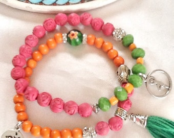 Yoga bracelet , chakra bracelet , meditation bracelet , ohm bracelet , tassel bracelet , healing bracelet