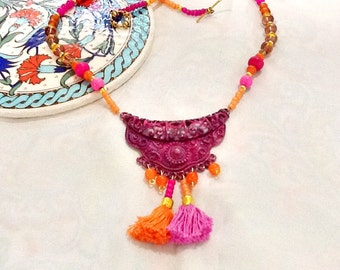 SALE-----  MARAKKESH SUMMER - Bohemian Style Necklace- Middle Eastern Necklace -Moroccan Necklace-Gypsy Necklace