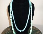 "vintage Bird Egg Blue Graduated Glass Bead Sterling Necklace 21.5"" long"